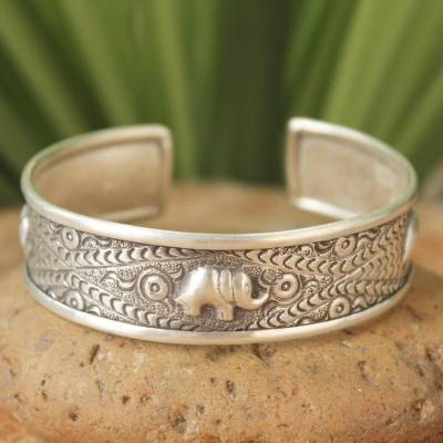 Sterling silver cuff bracelet, 'Little Thai Elephants' - Sterling silver cuff bracelet