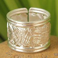 Sterling silver band ring, 'Reflections' - Artisan Crafted Sterling Silver Wrap Ring