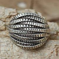 Sterling silver cocktail ring, 'Forest Harmony' - Hand Crafted Sterling Silver Cocktail Ring from Thailand