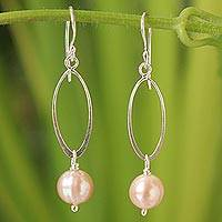 Cultured pearl dangle earrings, 'Precious Peach' - Handcrafted Pearl and Silver Dangle Earrings