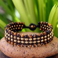 Tiger's eye wristband bracelet, 'Golden Dawn' - Tiger's Eye and Brass Wristband Bracelet
