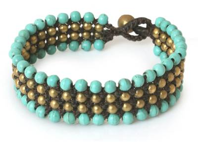 Dyed Calcite and Brass Beaded Bracelet