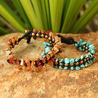 Carnelian and magnesite wristband bracelets, 'Sunny Skies' (pair) - Hand Made Beaded Gemstone Bracelets (Pair)