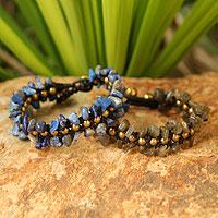 Lapis lazuli and labradorite wristband bracelets,