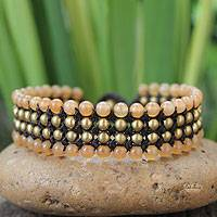 Beaded wristband bracelet, 'Golden Sunrise' - Unique Brass Beaded Quartz Bracelet