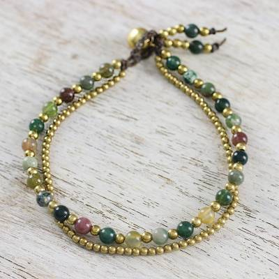 Jasper beaded bracelet, 'Dazzling Green Red Harmony' - Unique Thai Brass Beaded Jasper Bracelet