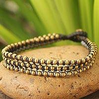 Beaded bracelet, 'Friend' - Brass Beaded Wristband Bracelet