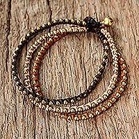 Brass beaded bracelet, 'Family'
