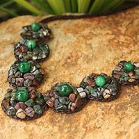 Jasper beaded necklace, 'Exultant Green'