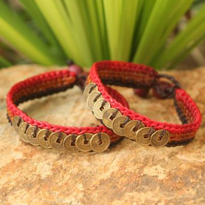 Beaded wristband bracelets, 'Cinnamon Coins' (pair) - Good Fortune Brass Wristband Bracelets (Pair)