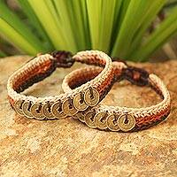 Beaded wristband bracelets, 'Ginger Coins' (pair) - Handcrafted Beaded Brass Coin Bracelets (Pair)
