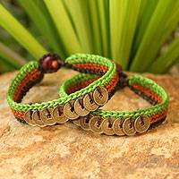 Beaded wristband bracelets, 'Kiwi Coins' (pair) - Beaded wristband bracelets (Pair)