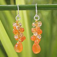 Carnelian cluster earrings, 'Orange Glam' - Carnelian Beaded Earrings