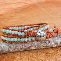 Amazonite and agate wrap bracelet, 'Forest Flower' - Leather and Amazonite Wrap Bracelet