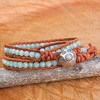 Amazonite and agate wrap bracelet,