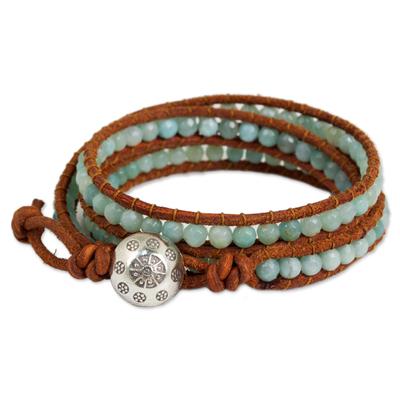 Leather and Amazonite Wrap Bracelet