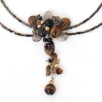 Tiger's eye and smoky quartz choker, 'Sweet Serenade' - Tiger's Eye and Quartz Beaded Necklace
