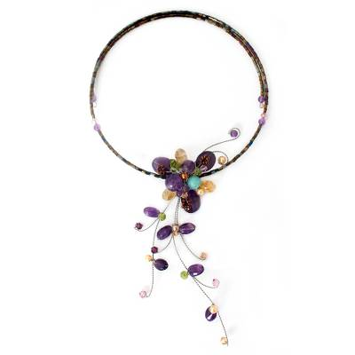 Hand Made Floral Multigem Necklace