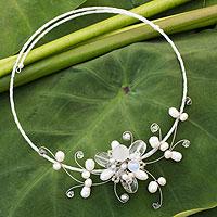 Cultured pearl and quartz choker,