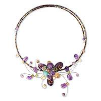 Amethyst and peridot choker, 'Fantasy in Flowers'