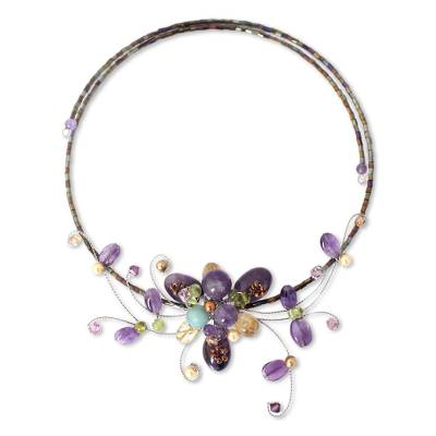 Floral Amethyst Beaded Necklace