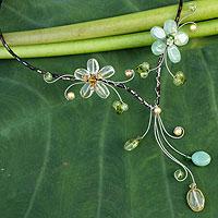 Peridot and citrine choker, 'Precious Blossoms' - Handcrafted Peridot and Citrine Choker