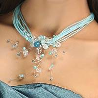 Quartz and aquamarine choker, 'Floral Joy' - Floral Quartz Necklace