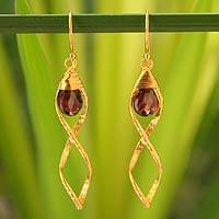 Gold vermeil garnet dangle earrings, 'Whirlwind' - Handcrafted Vermeil and Garnet Dangle Earrings