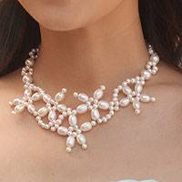 Cultured pearl flower choker,