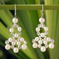 Cultured pearl beaded earrings, 'White Orchids' - Pearl Bridal Earrings
