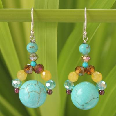 Calcite and garnet dangle earrings, 'Autumn River' - Fair Trade Beaded Earrings from Thailand