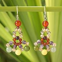 Carnelian and amethyst beaded earrings, 'Lily Bouquet' - Handmade Beaded Carnelian and Amethyst Earrings