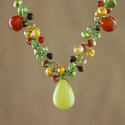 Cultured pearl and carnelian choker, Sunshine River