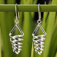 Sterling silver dangle earrings, 'Love Tornado' - Handcrafted Modern Sterling Silver Dangle Earrings