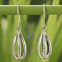 Sterling silver dangle earrings, 'Birdcage' - Modern Sterling Silver Dangle Earrings