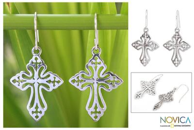 Sterling silver dangle earrings, 'Holy Cross' - Sterling Silver Dangle Earrings