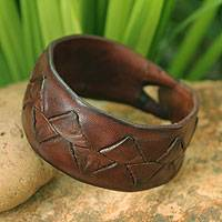 Mens leather wristband bracelet, Ayutthaya Brown