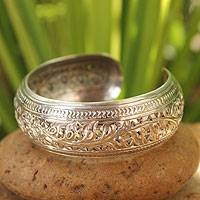Sterling silver cuff bracelet, 'Hill Tribe Ivy' - Fair Trade Sterling Silver Cuff Bracelet