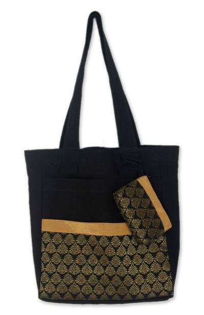 Cotton Tote Bag with Change Purse Handmade in Thailand