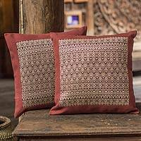 Cotton cushion covers, 'Brown Lotus' (pair) - Cotton cushion covers (Pair)