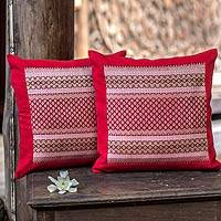 Cotton cushion covers, 'Bangkok Red' (pair) - Cotton cushion covers (Pair)
