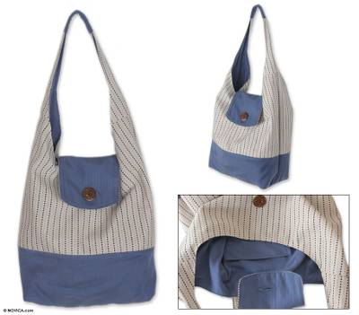 Cotton shoulder bag, 'Joyful Blue' - Cotton shoulder bag