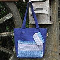 Cotton tote handbag and change purse, 'Blue Iris' - Floral Cotton Tote Bag with Embroidered Coin Purse