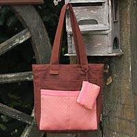 Cotton tote handbag and change purse, 'Pink Camellia' (Thailand)
