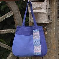 Cotton tote handbag, 'Chiang Mai Hydrangea' (Thailand)