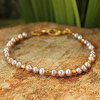 Cultured pearl beaded bracelet, 'Iridescent Dawn' - Fair Trade Gold Plated Pearl Bracelet