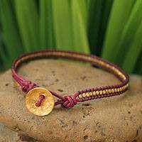 Leather and gold plate wristband bracelet,  'Golden Red' - Leather and Gold Plated Bracelet