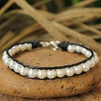 Leather and cultured pearl beaded bracelet, 'Mystical Moons'
