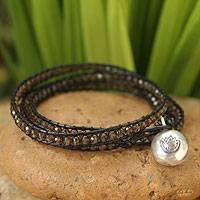 Leather and smoky quartz wrap bracelet, 'Lotus Moon' - Smoky Quartz Wrap Bracelet
