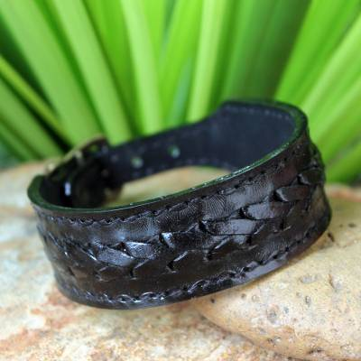 Men's leather wristband bracelet, 'Thai Night' - Men's Leather Wristband Bracelet from Thailand